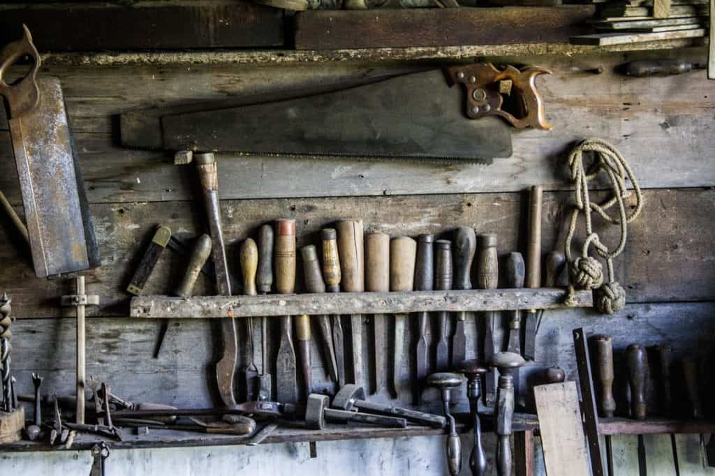 Old tools on a wall