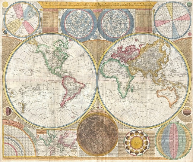 Old map of the world. Man cave decoration ideas