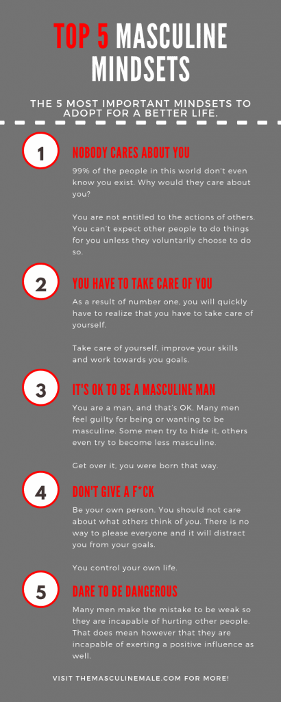 TOP 5 Masculine mindset infographic.